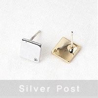 [8-8807-02] 마름모판 은침포스트 11mm(무도금은침) [1쌍(2개)]